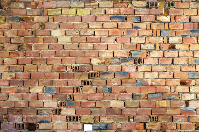 Red hollow ceramic bricks. Photographed close, suitable for background royalty free stock image