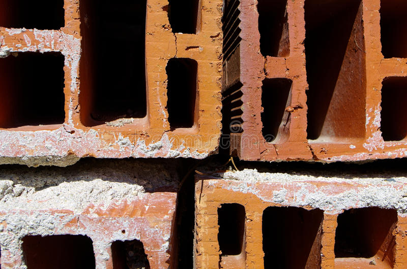 Red hollow. Ceramic bricks shot stock photo