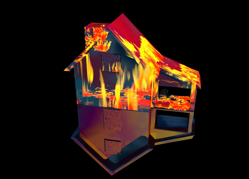 Red Home on Fire House on Black. Red Home on Fire House Model with Reflection Concept For Risk or Property Insurance Protection on Black Background vector illustration