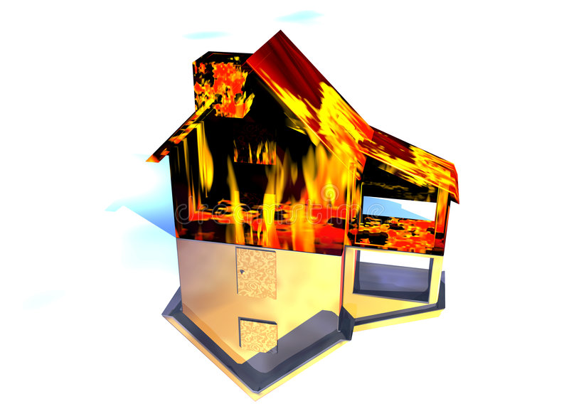 Red Home on Fire House on White. Red Home on Fire House Model with Reflection Concept For Risk or Property Insurance Protection on White Background stock illustration