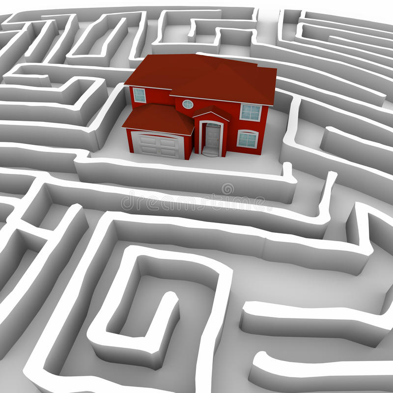 Red Home in Maze - Find Path to Ownership stock illustration