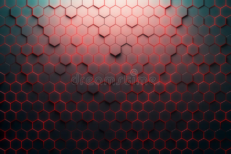 Red honeycomb pattern. 3D Rendering vector illustration