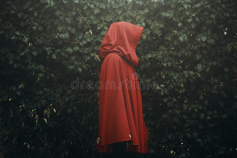 Red hood figure alone royalty free stock images