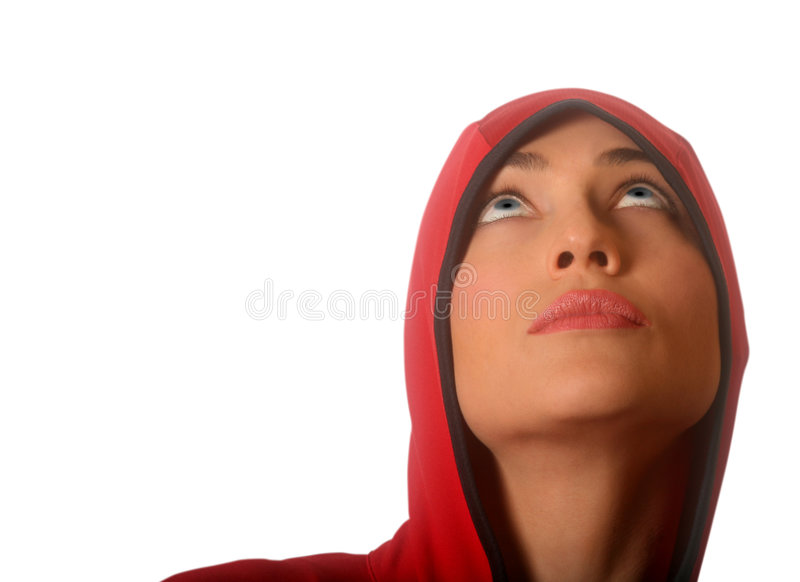 Download Red Hooded Woman stock image. Image of athletic, praying - 3290253