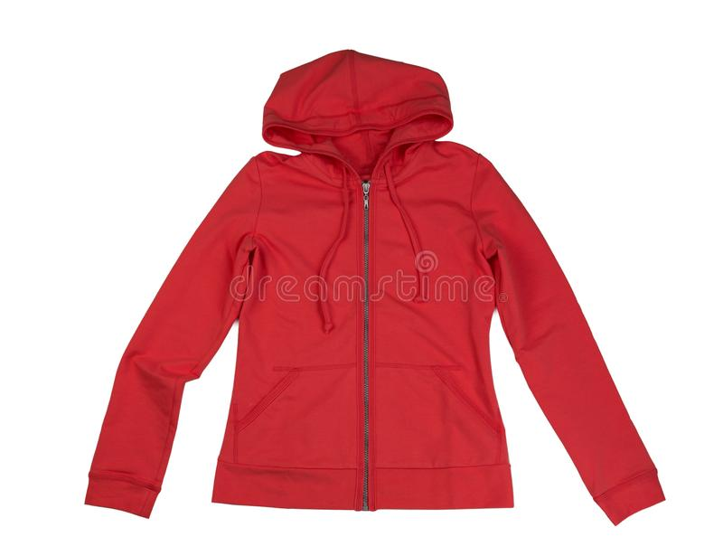 Red hoodie. Isolate on white royalty free stock photos