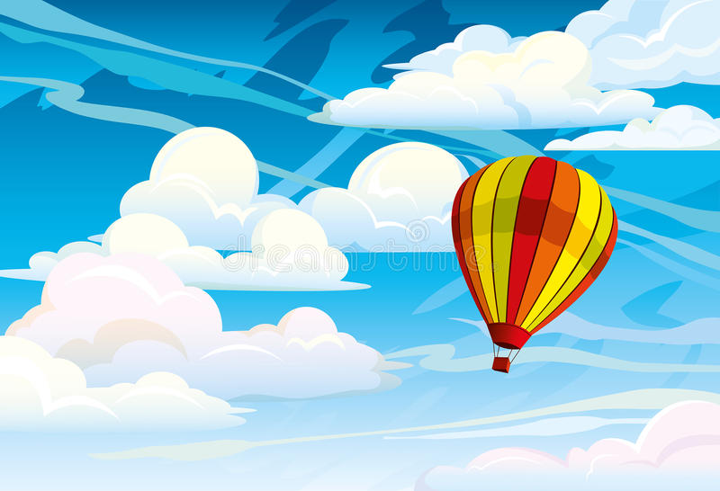 Download Red hot air balloon stock illustration. Illustration of above - 27045515
