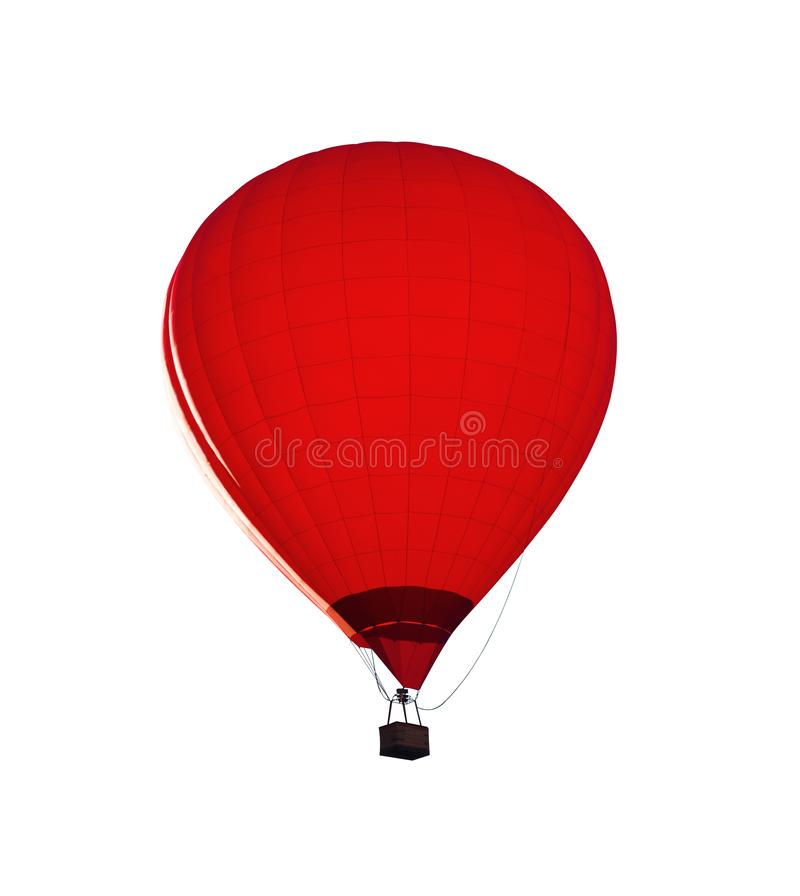 Red hot air balloon isolated. Red hot air balloon with wicker basket isolated on white background stock images