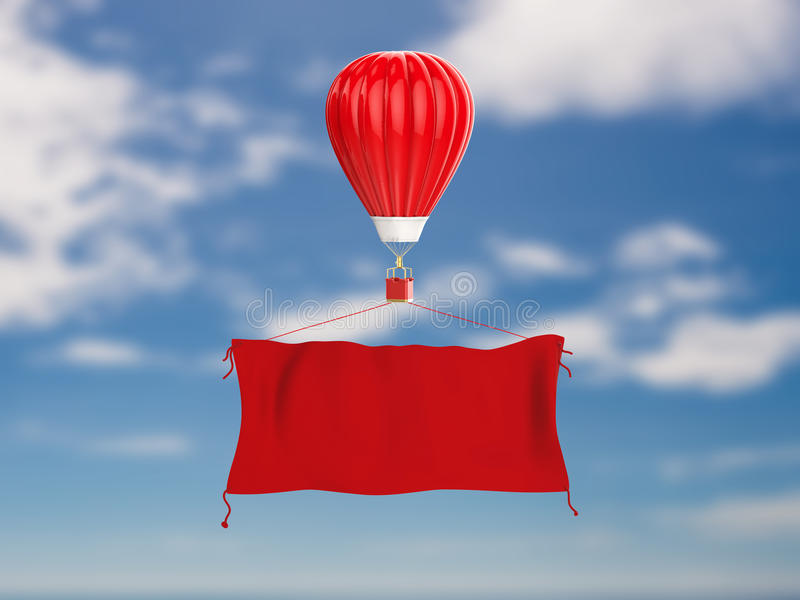 Red hot air balloon with red cloth banner stock images