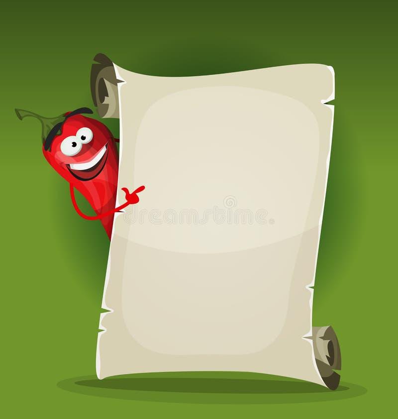 Red Hot Chili Pepper Holding Restaurant Menu vector illustration