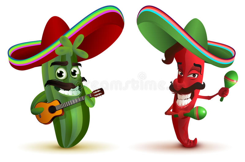 Red hot chili peppers and cactus in Mexican hat sombrero dancing maracas. Isolated on white vector illustration royalty free illustration