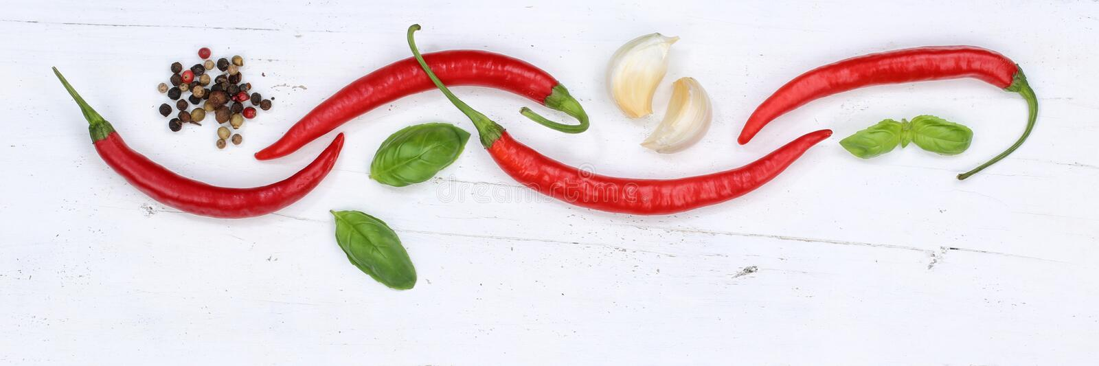 Red hot chili peppers chilli cooking ingredients banner copyspace background top view royalty free stock photos