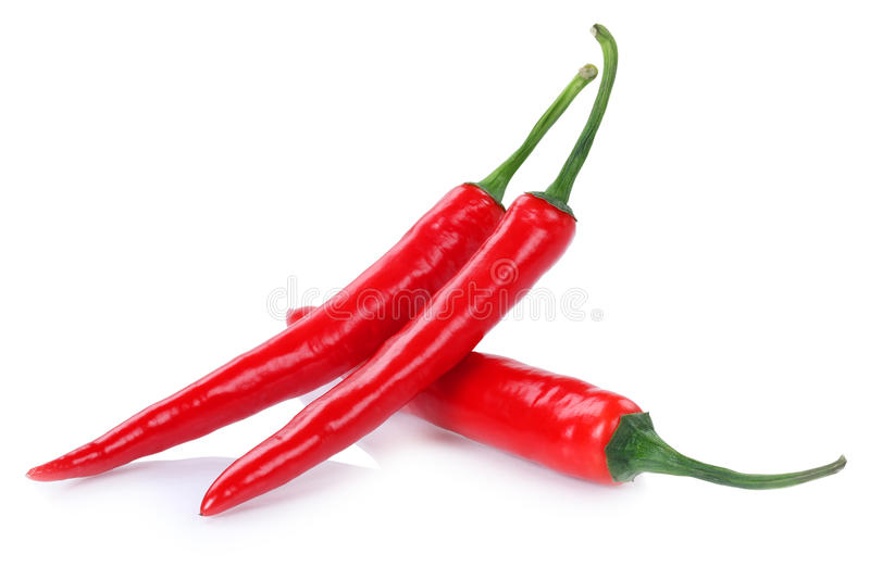 Red hot chili peppers chilli pepper on white stock photo