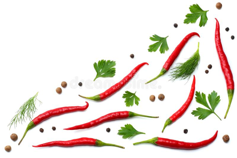 Red hot chili peppers isolated on white background top view royalty free stock photos