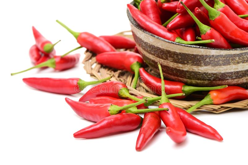 Red hot chili peppers. On white background stock images