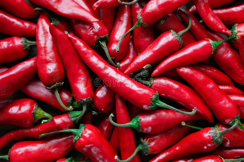 Red hot chili peppers. Stack of vegetables royalty free stock image