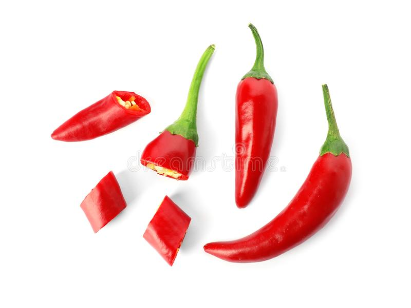 Red hot chili peppers. On white background royalty free stock photography