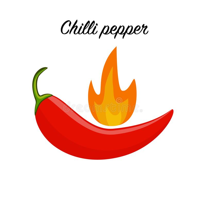 Red hot chilli pepper icon isolated on white background. vector illustration