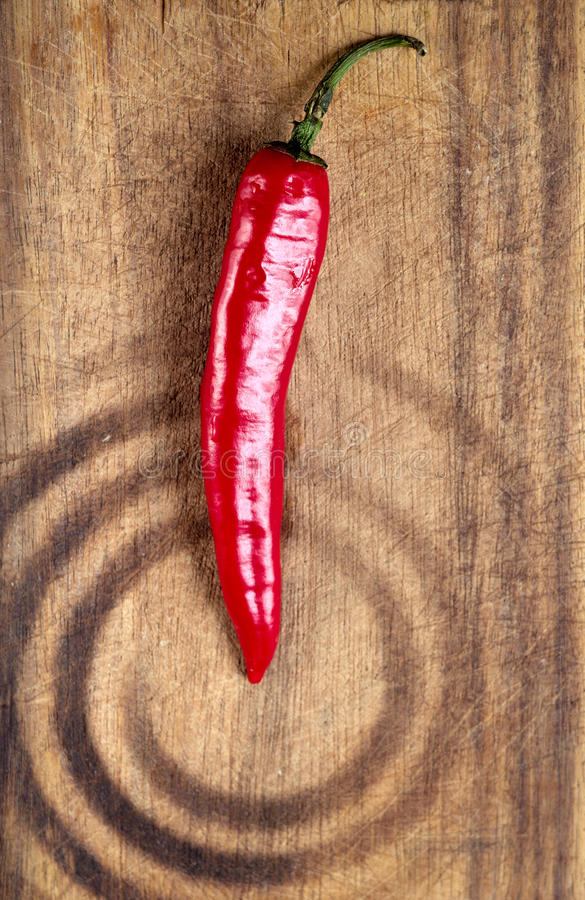 Red hot chilli pepper. On plate stock photo