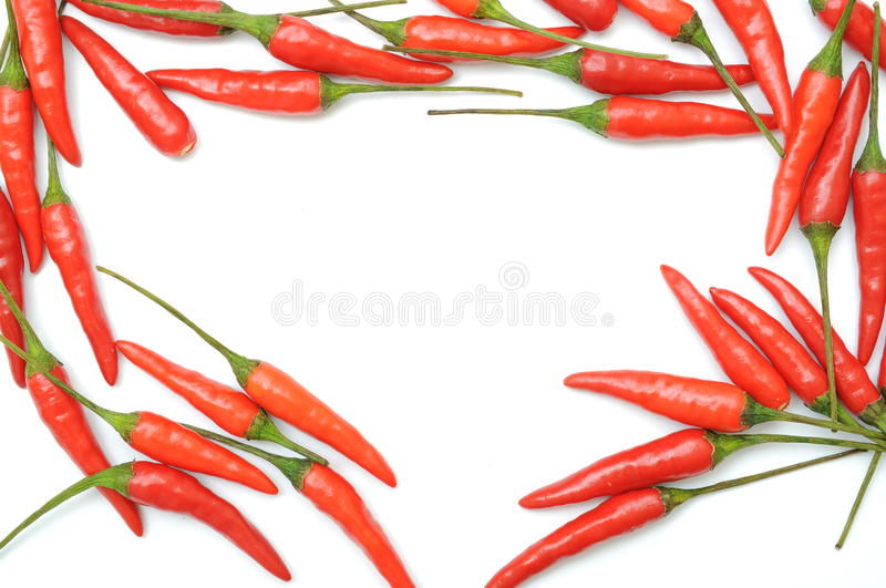 Red hot chilli peppers. Border stock photo