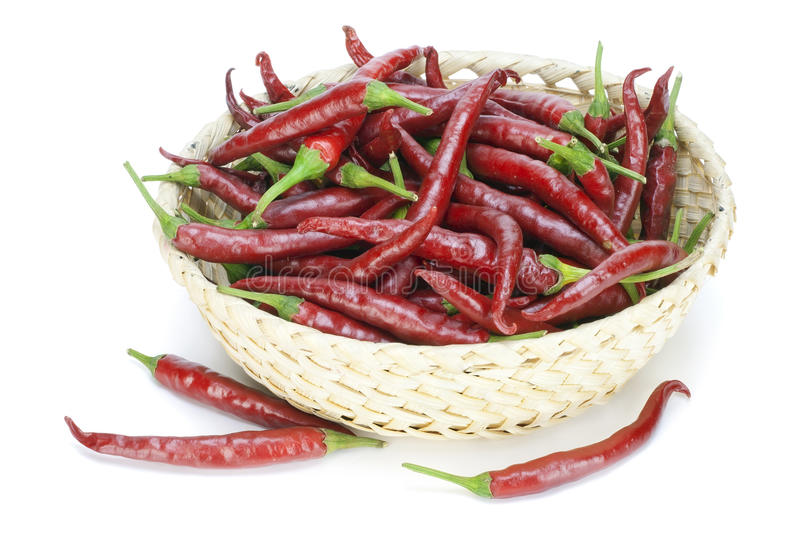 Red hot chilli peppers in basket. Red hot chilli peppers lies in a small basket royalty free stock photography