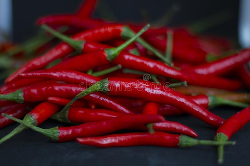 Red hot fresh raw chili peppers. royalty free stock photo