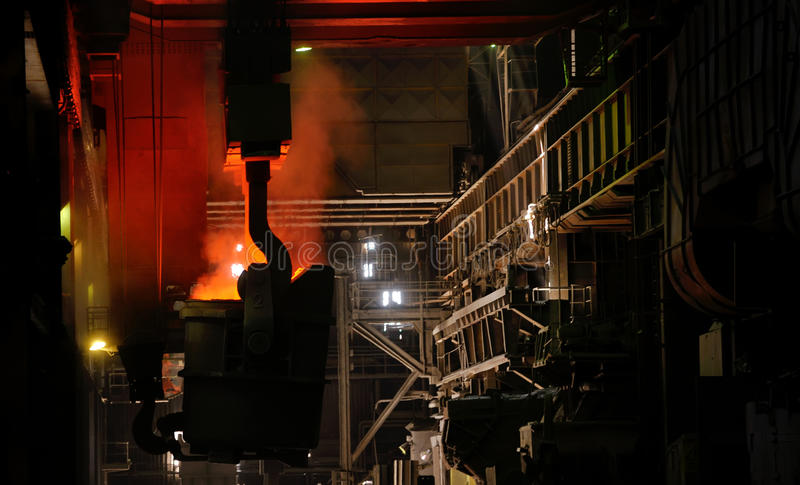 Red-hot molten steel royalty free stock images