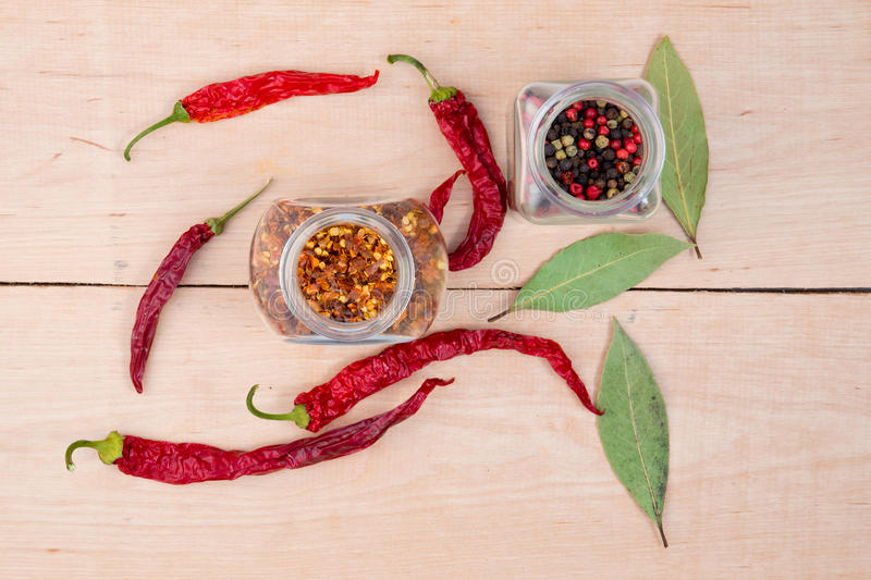 Red hot peppers and bay leaf royalty free stock photo