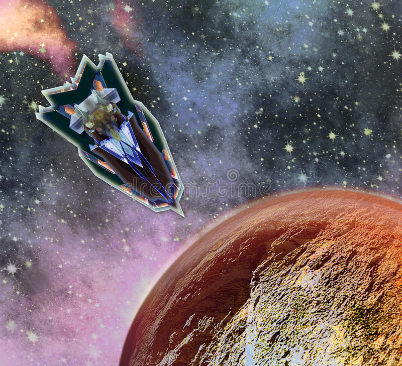 Red hot planet resembling Mars with landing space shuttle stock illustration