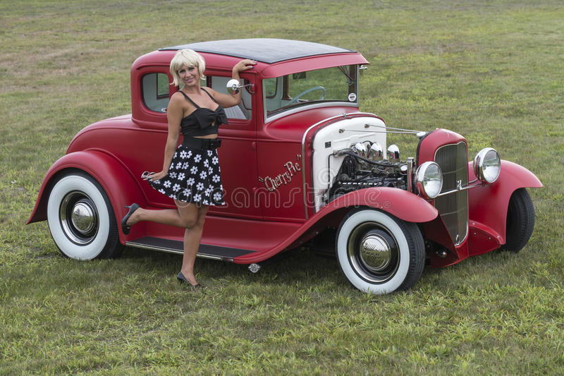 Red hot rod royalty free stock photos