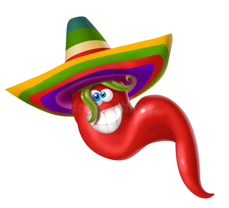 Red hot spicy mexican chilli pepper,. Red, spicy Mexican chilli, with a laughing face stock illustration
