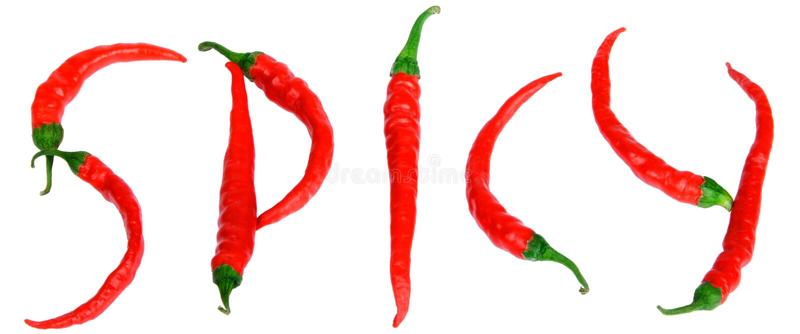Red hot spicy peppers. Create word on white background spicy royalty free stock photo