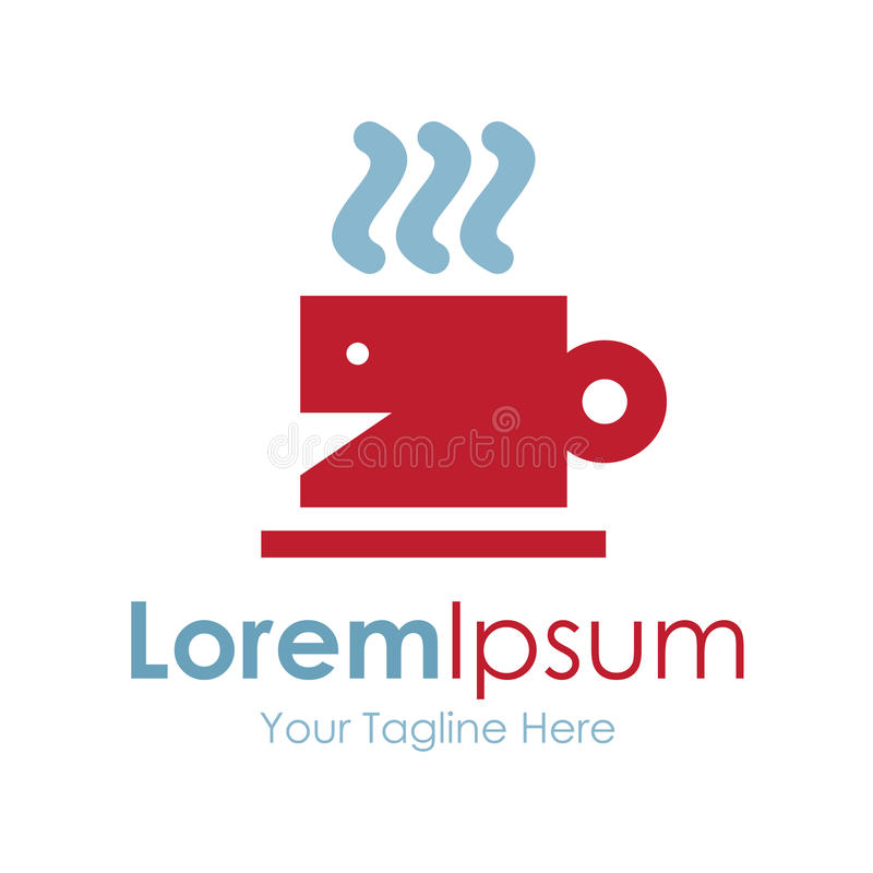 Red hot tea cup simple business icon logo stock illustration