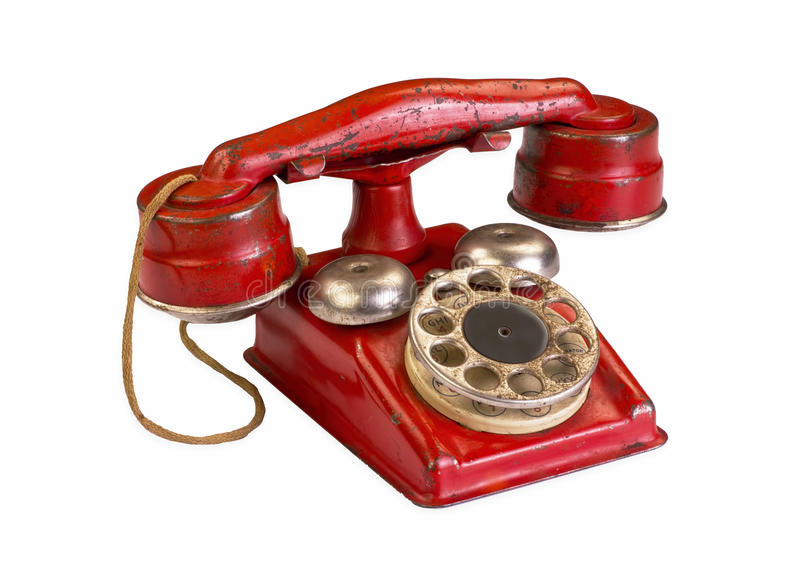 Red Hotline Phone. Stock Photo