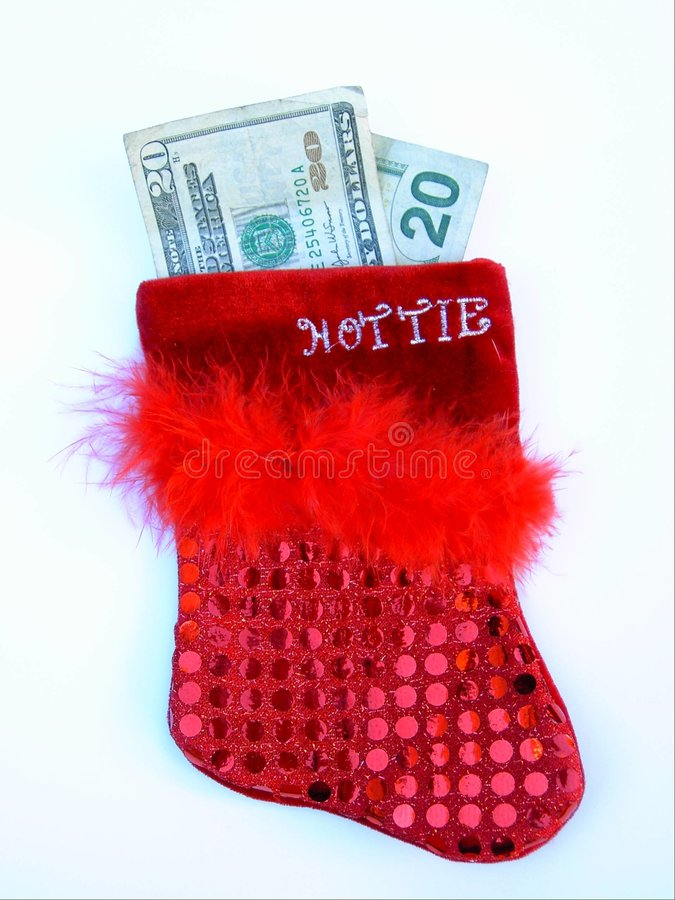 Download Red Hottie Sequined Feathered Christmas Stocking With Money Stock Image - Image: 336323