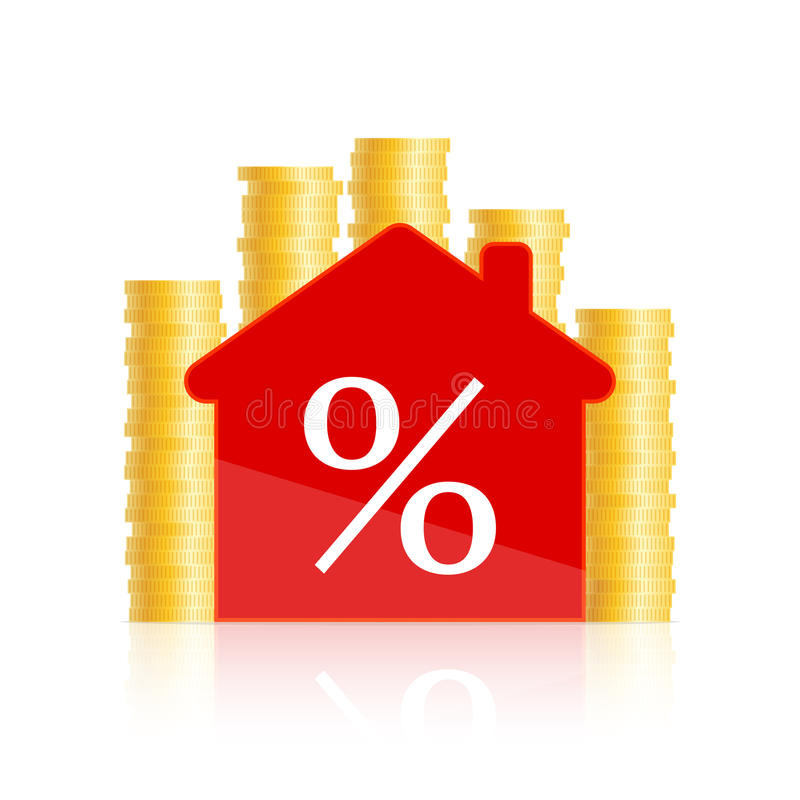 Red house and coins. Red house icon with percent sign inside and golden coins around stock illustration