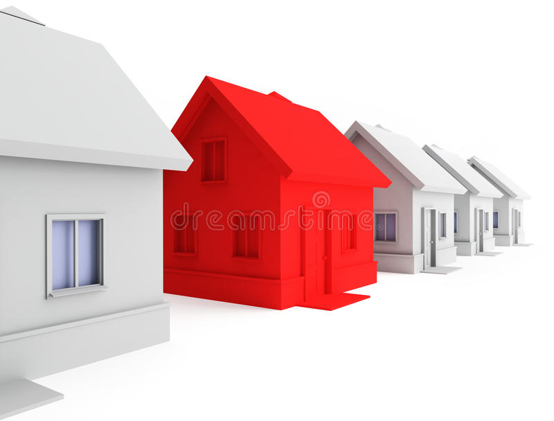 Red house in the foreground. vector illustration