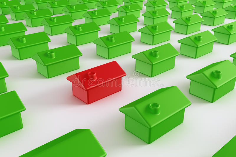 Download Red house among green stock illustration. Illustration of property - 18864123