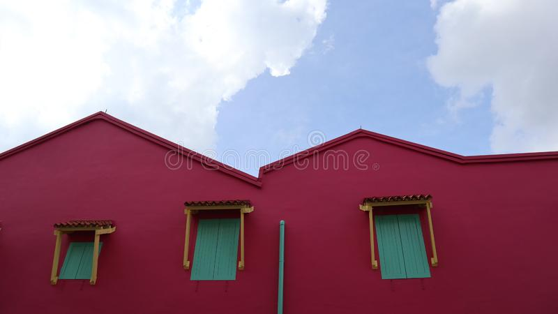 RED HOUSE IN LITTLE INDIA royalty free stock photography