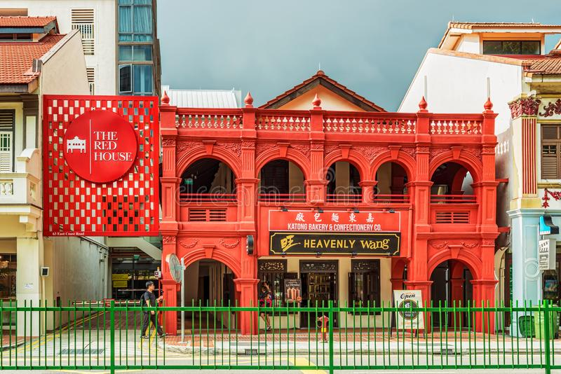 The red house old colonial building at Katong square in Singapor royalty free stock photos