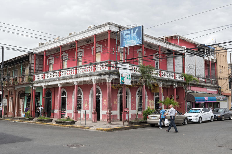 Red house in Puerto Limon, Costa Rica.  stock photo