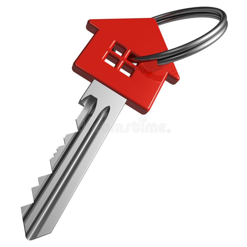 Red house-shape key. Single red house-shape key isolated over white background vector illustration