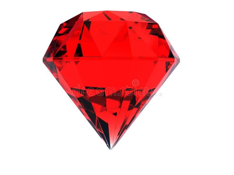 Red huge ruby gem. An illustration of a single red huge ruby gem on a white isolated background stock illustration
