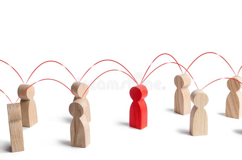 Red human figure in contact with surrounding persons. Cooperation collaboration, teamwork. Role intermediary mediator, leader,. Leadership. Communication royalty free stock image