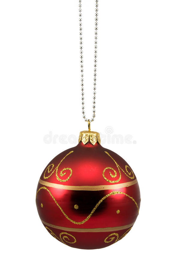 Red hung christmas bauble. Isolated on white background royalty free stock photo