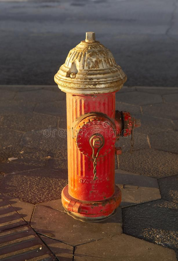 Red hydrant in New York royalty free stock image