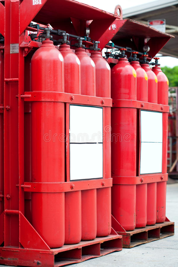 Red hydrogen tank cylinders. A red hydrogen tank cylinders royalty free stock photography