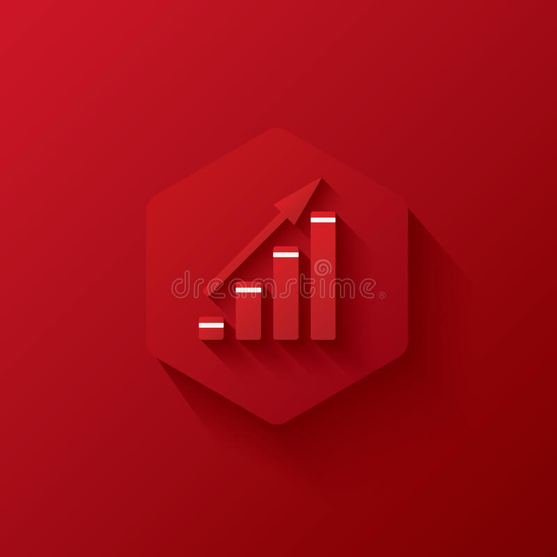 Red icon on red hexagon,marketing,Three-dimensional icon royalty free stock photos