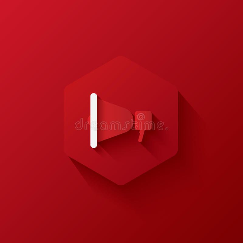 Red icons on hexagon,icons Marketing,long shadows stock image
