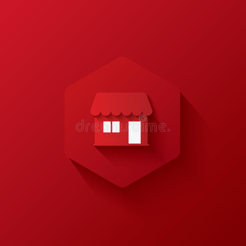 Red icons on hexagon,icons Marketing,long shadows royalty free stock image