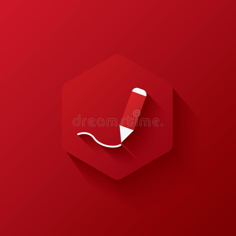 Red icons on hexagon,icons Marketing,long shadows stock images